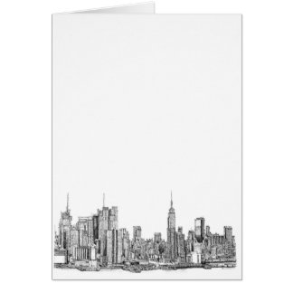 New York skyline ink Greeting Cards