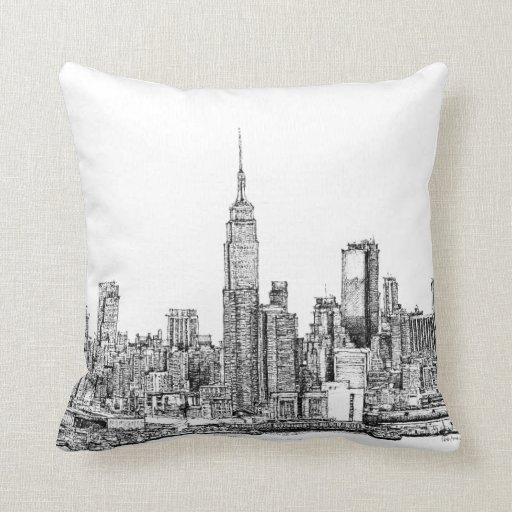 New York skyline ink pillows