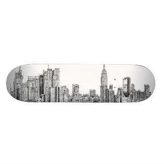 New York skyline ink skateboard