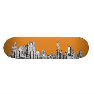 New York skyline orange 21.3 Cm Mini Skateboard Deck