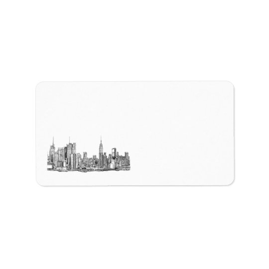 New York skyline personalised label