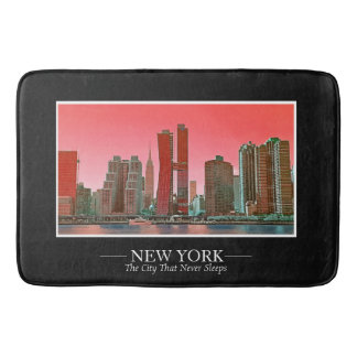 New York Skyline Photograph Frame Personalize Bath Mat
