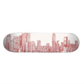 New York skyline pink red Skateboard Decks