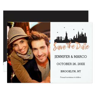 New York Skyline Rose Gold Script Save the Date Card