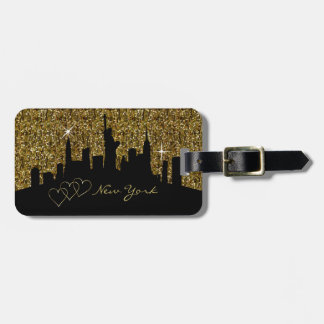 New York Skyline Silhouette in Faux Gold Glitter Luggage Tag