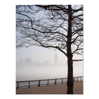 New York Skyline Silhouette through Tree Branches Photographic Print