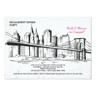 New York Skyline Sketchy Invitation
