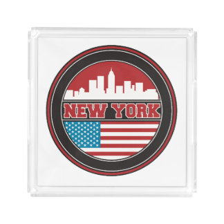 New York Skyline | United States Flag Acrylic Tray