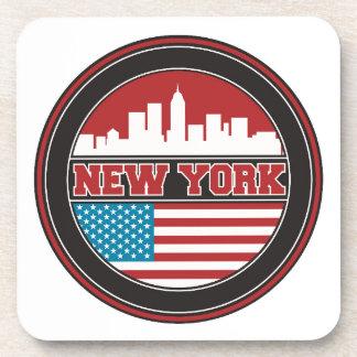 New York Skyline | United States Flag Beverage Coaster