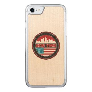 New York Skyline | United States Flag Carved iPhone 8/7 Case