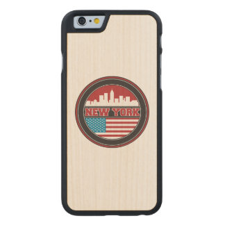New York Skyline | United States Flag Carved Maple iPhone 6 Case