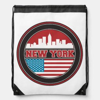 New York Skyline | United States Flag Drawstring Bag