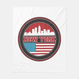 New York Skyline | United States Flag Fleece Blanket
