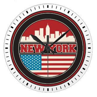 New York Skyline | United States Flag Large Clock