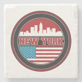 New York Skyline | United States Flag Stone Coaster