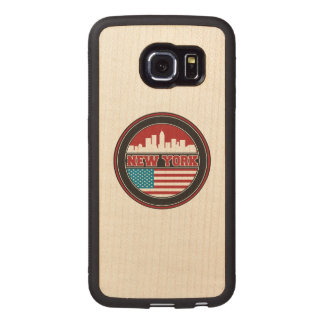 New York Skyline | United States Flag Wood Phone Case