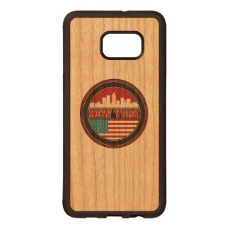 New York Skyline | United States Flag Wood Samsung Galaxy S6 Edge Case