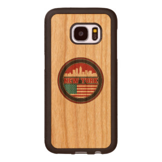 New York Skyline | United States Flag Wood Samsung Galaxy S7 Case
