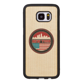 New York Skyline | United States Flag Wood Samsung Galaxy S7 Edge Case