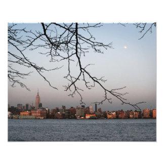 New York Skyline with Moon Photographic Print