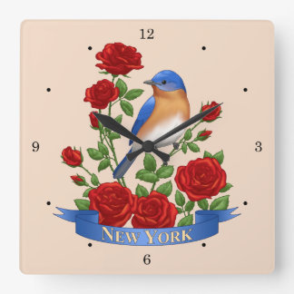 New York State Bird and Flower Square Wall Clock