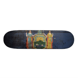 New York State Flag on Old Wood Grain Skateboard Deck