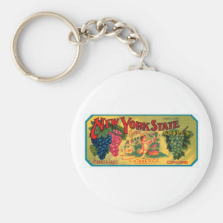 New York State Grapes Basic Round Button Key Ring
