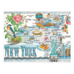 new york state map post cards