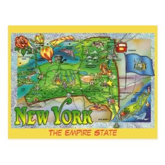 New York State Map Postcard