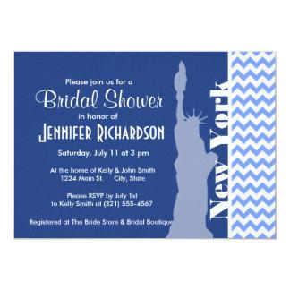 New York, Statue of Liberty; Blue Chevron 13 Cm X 18 Cm Invitation Card