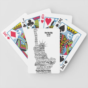 Statue of liberty playing cards zazzle new york statue of liberty contoured in words bicycle playing cards publicscrutiny Choice Image