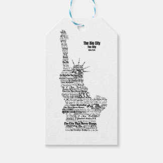 New York Statue Of Liberty Contoured in Words Gift Tags