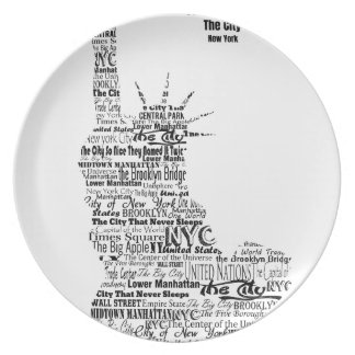 New York Statue Of Liberty Contoured in Words Plate