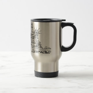 New York Statue Of Liberty Contoured in Words Travel Mug