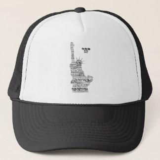 New York Statue Of Liberty Contoured in Words Trucker Hat