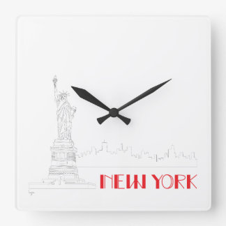 New-York, Statue-of-Liberty Cool Square Wall Clock