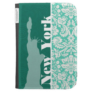 New York, Statue of Liberty, Seafoam Green Damask Kindle 3 Covers