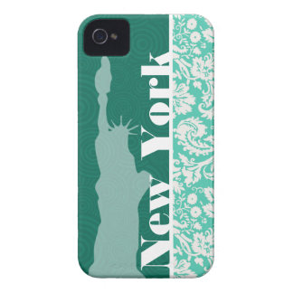 New York, Statue of Liberty, Seafoam Green Damask Case-Mate iPhone 4 Cases
