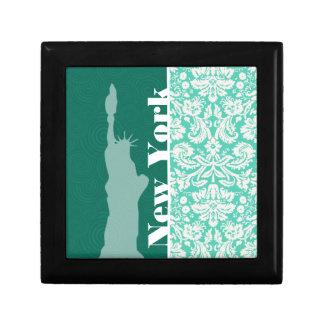 New York, Statue of Liberty, Seafoam Green Damask Keepsake Box