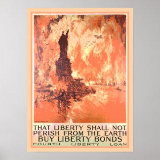 New York Statue of Liberty Shall Not Perish Bonds Poster
