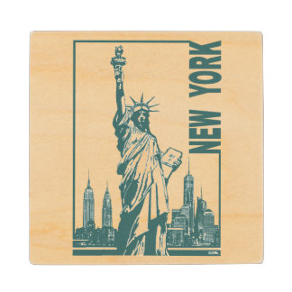 New York-Statue of Liberty Wood Coaster
