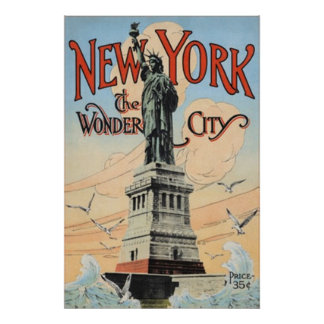 New York Statue of Libery Vintage Poster