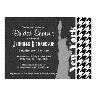 New York, Statue of Libety Houndstooth 13 Cm X 18 Cm Invitation Card