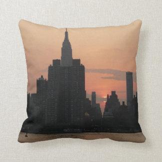 New York Sundown-Skyline Throw Pillow