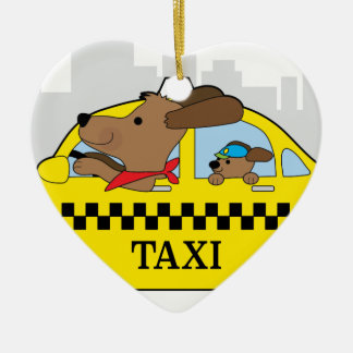 New York Taxi Dog Ceramic Heart Decoration