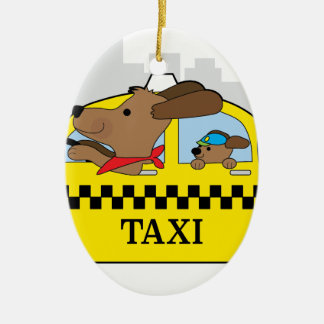 New York Taxi Dog Ceramic Oval Decoration