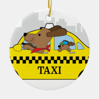 New York Taxi Dog Round Ceramic Decoration