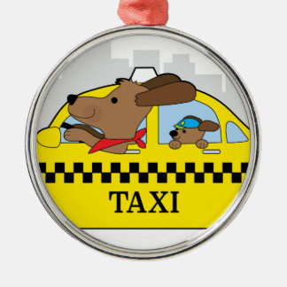 New York Taxi Dog Silver-Colored Round Decoration