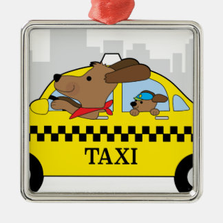 New York Taxi Dog Silver-Colored Square Decoration