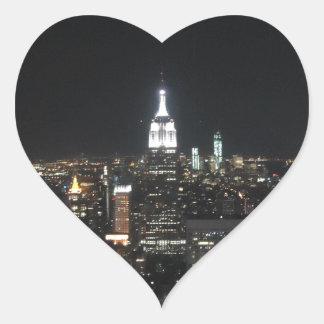 New York The Big Apple Manhattan at Night Gift Heart Sticker